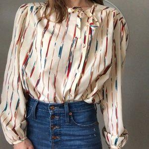 Vintage brush stroke puff sleeve blouse